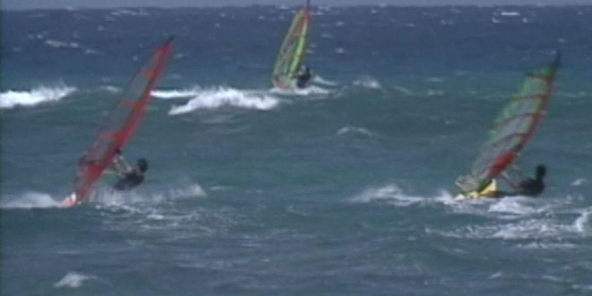 Windsurfer S Off A Maui Beach Over