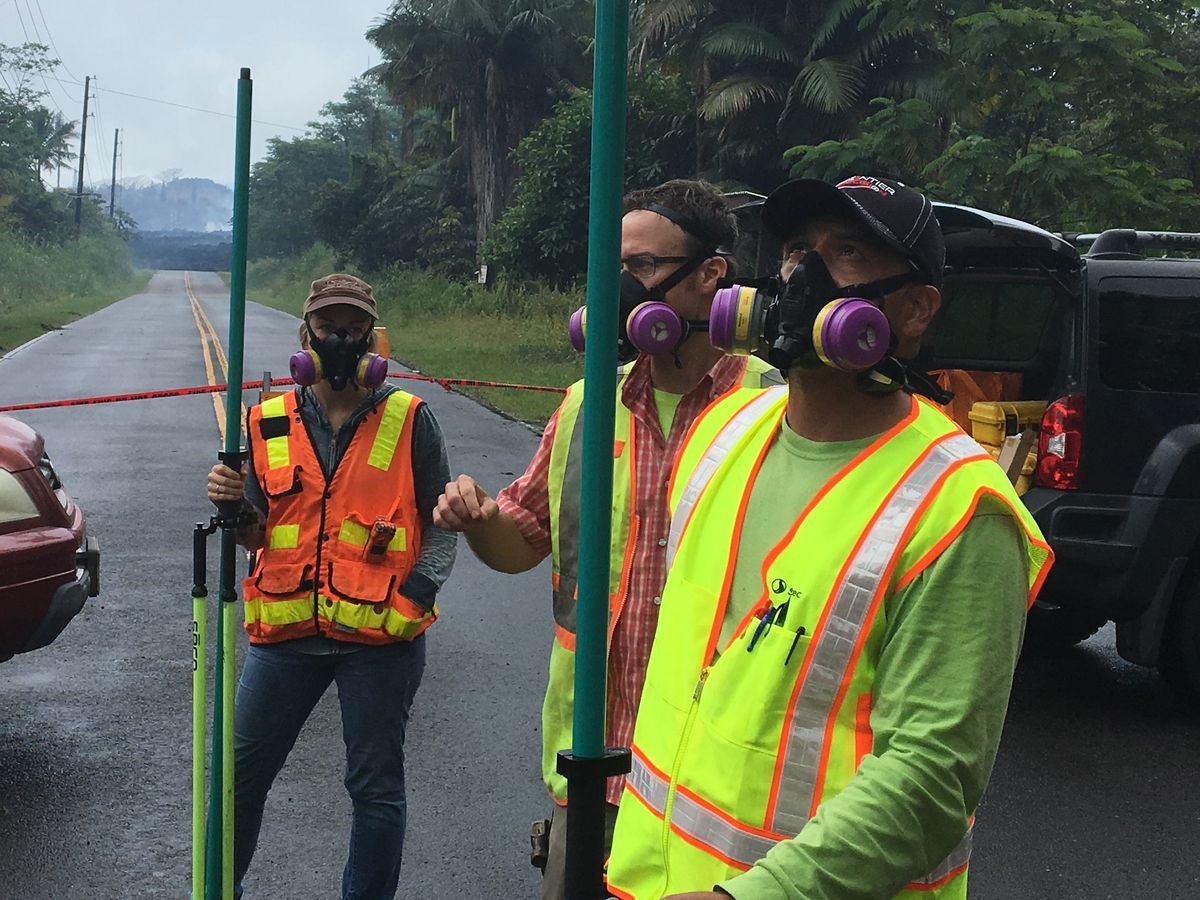 Land surveyors were boots on the ground and eyes in the sky during Kilauea eruption